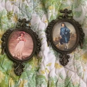 Boy and girl vintage mini painting in metal frame